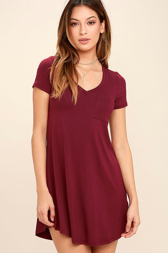 Wine Red Dress Shift Dress Shirt Dress