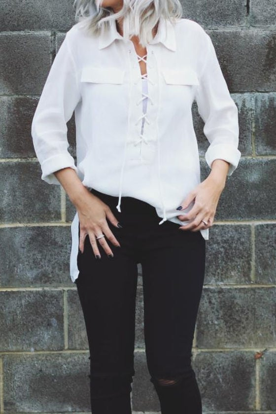 You Know It Ivory Long Sleeve Lace-Up Top 8