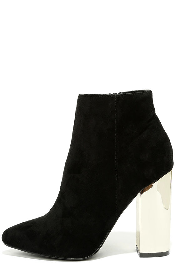 Chic Black Booties - Vegan Suede Booties - Gold Heels - $42.00