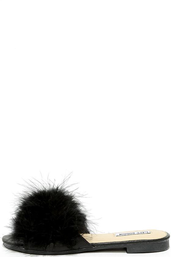 102074951910 Cute Black Slide Sandals - Feather Slide Sandals - Kitten Heel ...