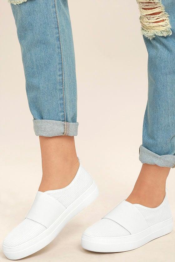 f37f160eeb1 Steve Madden Glenn-M - White Mesh Sneakers - Flatform Sneaker -  79.00
