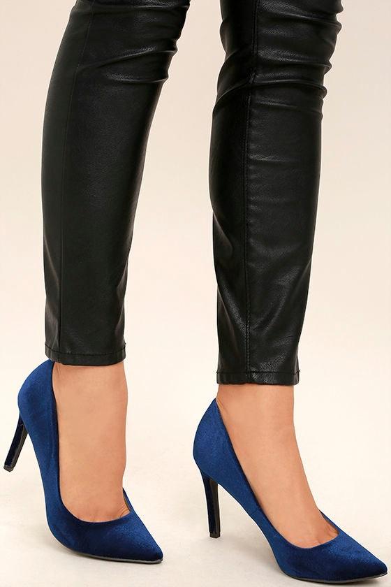 Chic Blue Heels - Blue Velvet Pumps - Pointed Pumps - $28.00