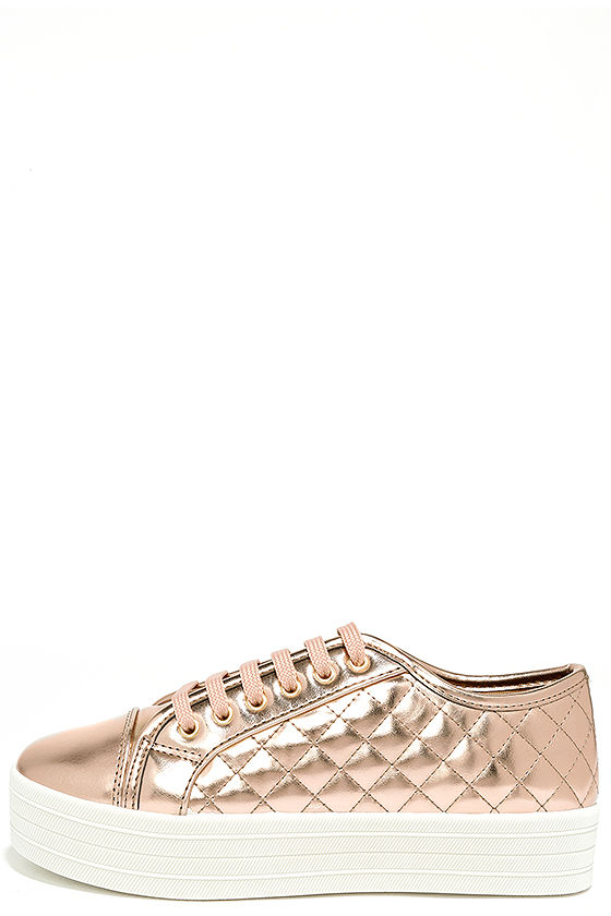Leeloo Rose Gold Quilted Flatform Sneakers 2