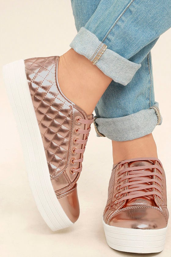 Leeloo Rose Gold Quilted Flatform Sneakers 1