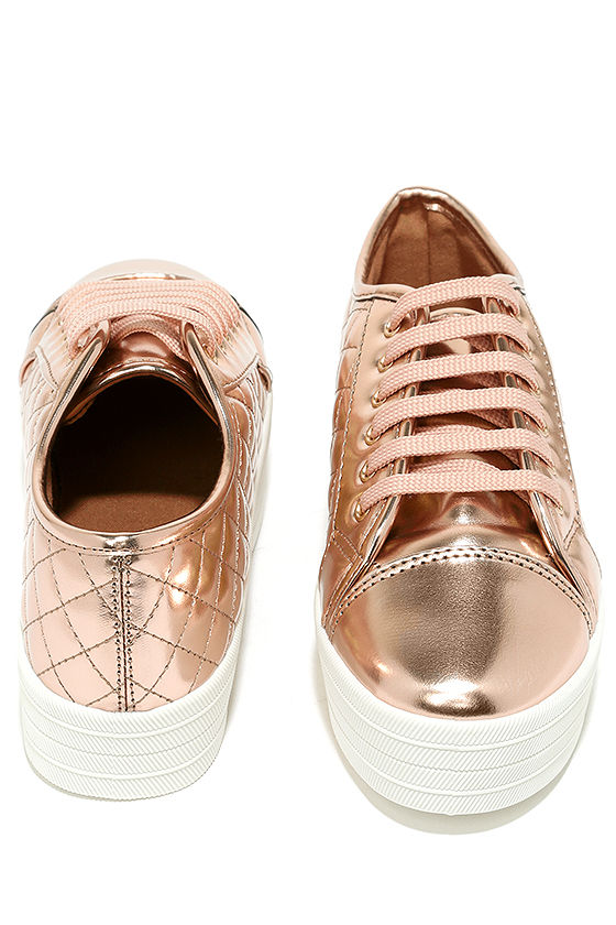 Leeloo Rose Gold Quilted Flatform Sneakers 3