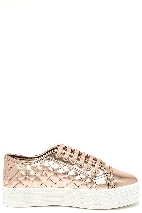 Leeloo Rose Gold Quilted Flatform Sneakers 4
