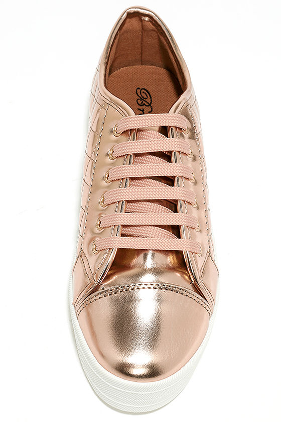 Leeloo Rose Gold Quilted Flatform Sneakers 5