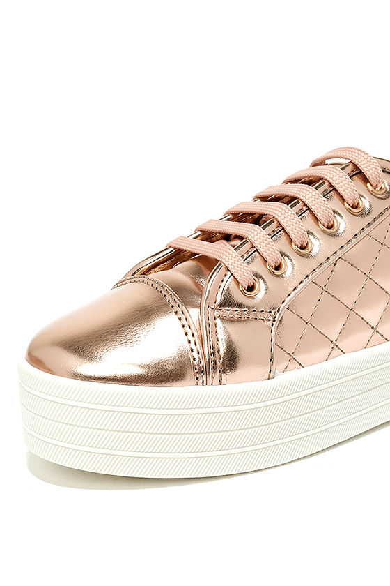 Leeloo Rose Gold Quilted Flatform Sneakers 6