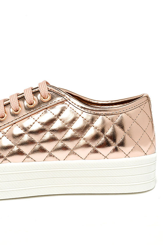 Leeloo Rose Gold Quilted Flatform Sneakers 7
