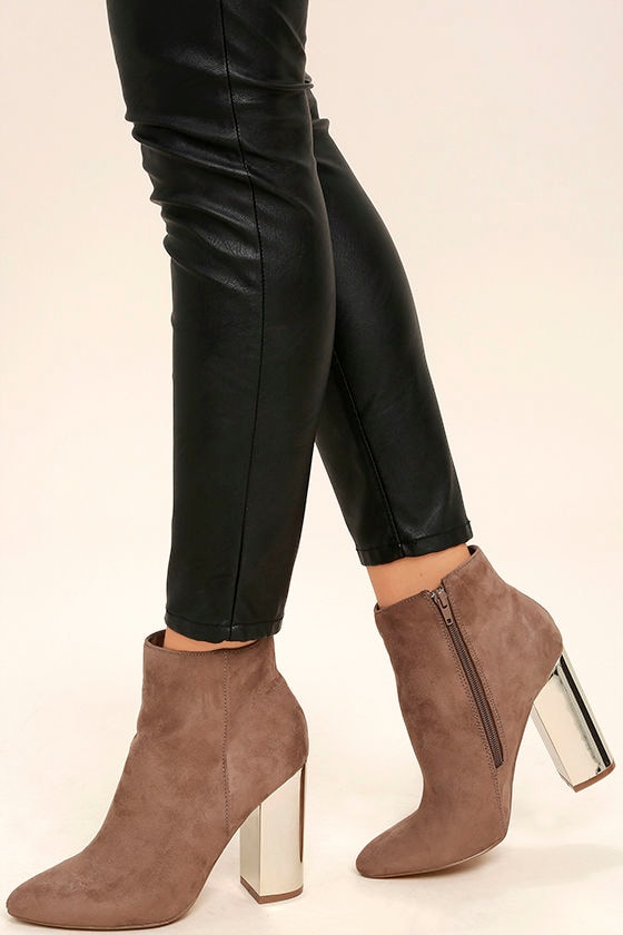 Ashton Taupe Suede Ankle Booties 1