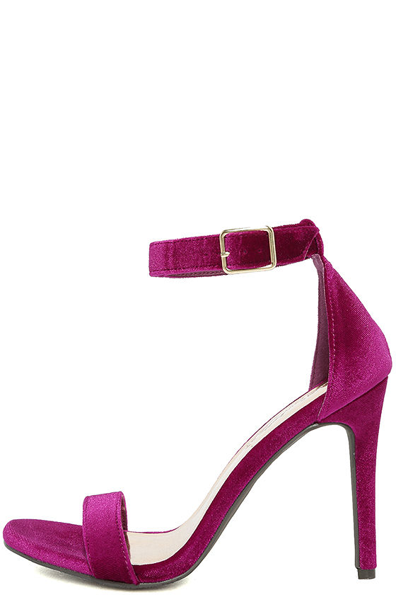 Chic Wine Purple Heels - Ankle Strap Heels - Velvet Heels - Single ...
