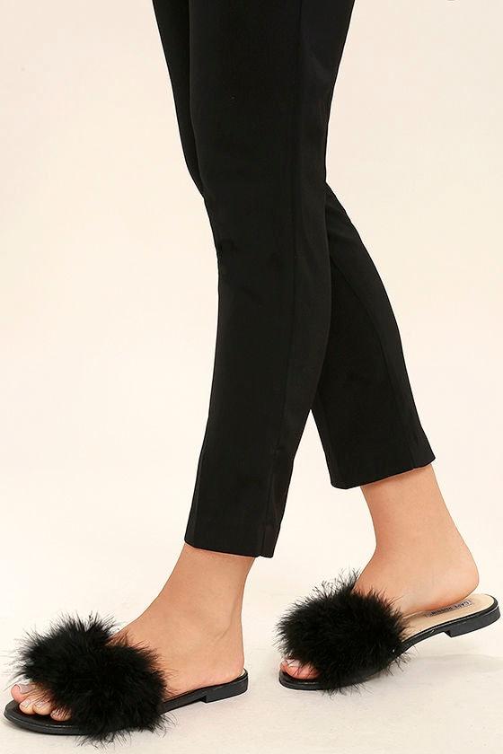 14c3b426e960 Cute Black Slide Sandals - Feather Slide Sandals - Kitten Heel Sandals -   23.00