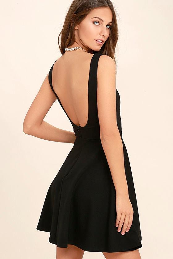 Cute Black Dress - Skater Dress - LBD - Backless Dress - $44.00