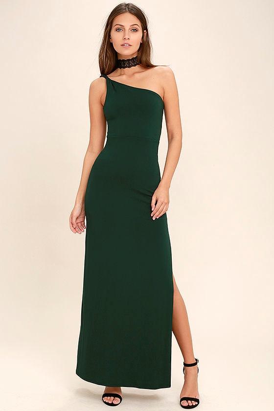 Dark Green Dress - Maxi Dress - One Shoulder Dress -  54.00 34e655022