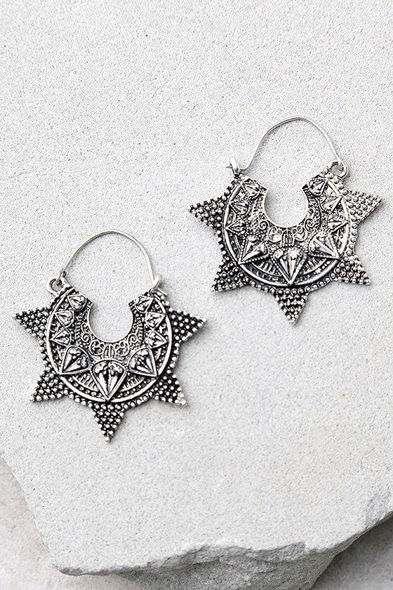 Spiritual Burst Silver Earrings 1