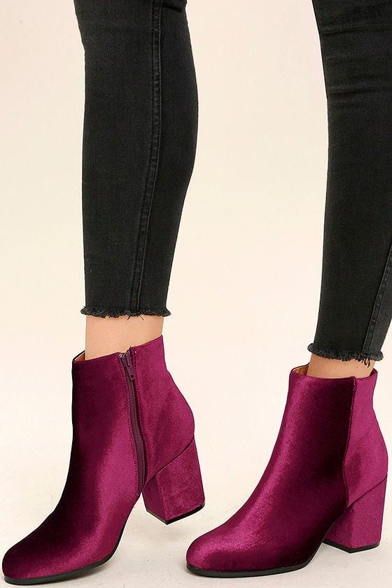 Velvet Ankle Boots - Block Heel Booties