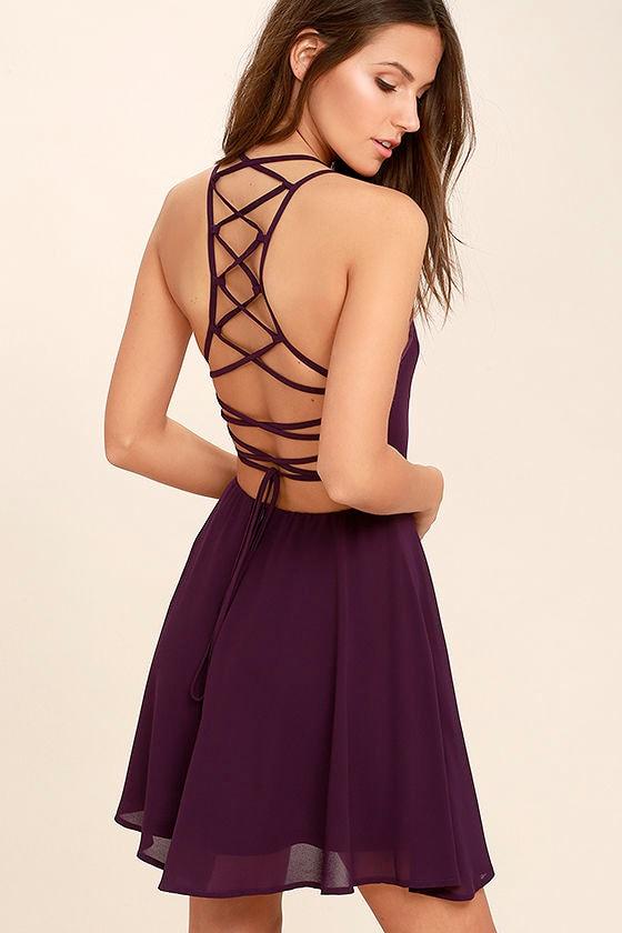 Sexy Plum Purple Dress - Lace-Up Dress - Backless Dress - $44.00