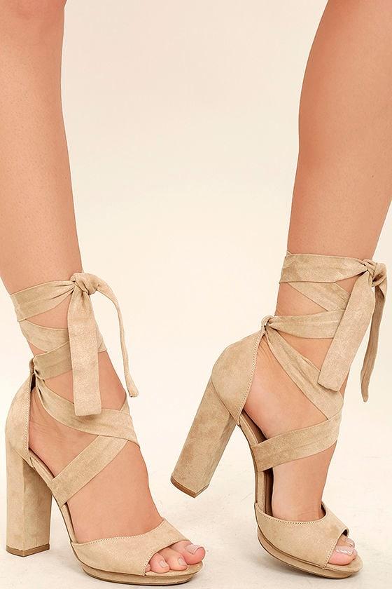 Lovely Natural Heels Lace Up Heels Vegan Suede Heels