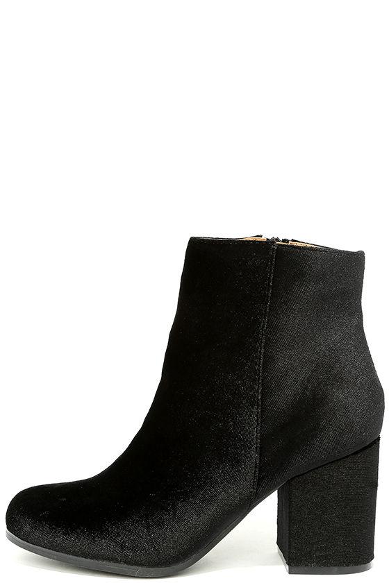 d89dcd4f71b7 Cute Black Velvet Booties - Velvet Ankle Boots - Block Heel Booties ...