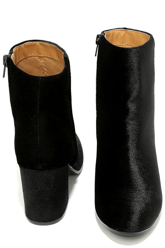Annette Black Velvet Ankle Booties 3