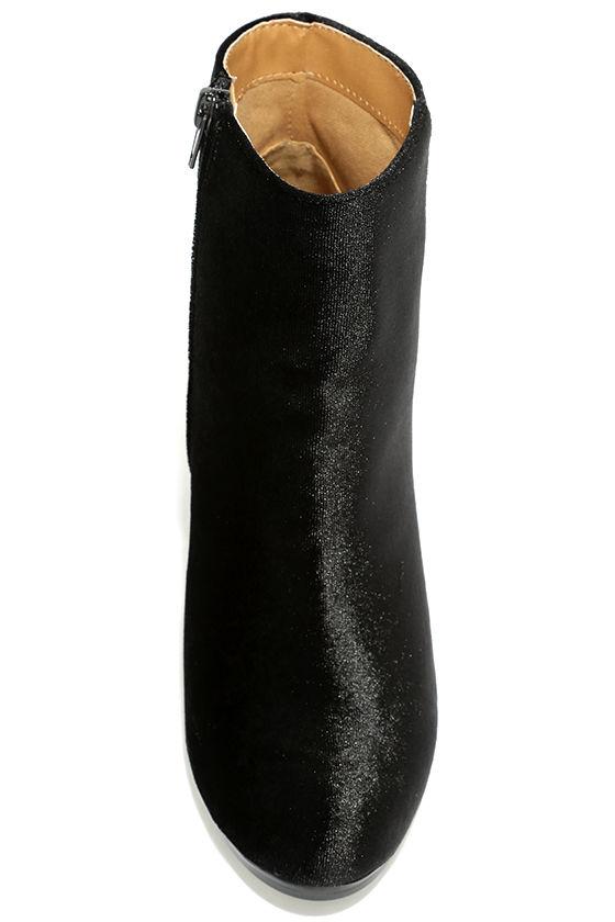 Annette Black Velvet Ankle Booties 5