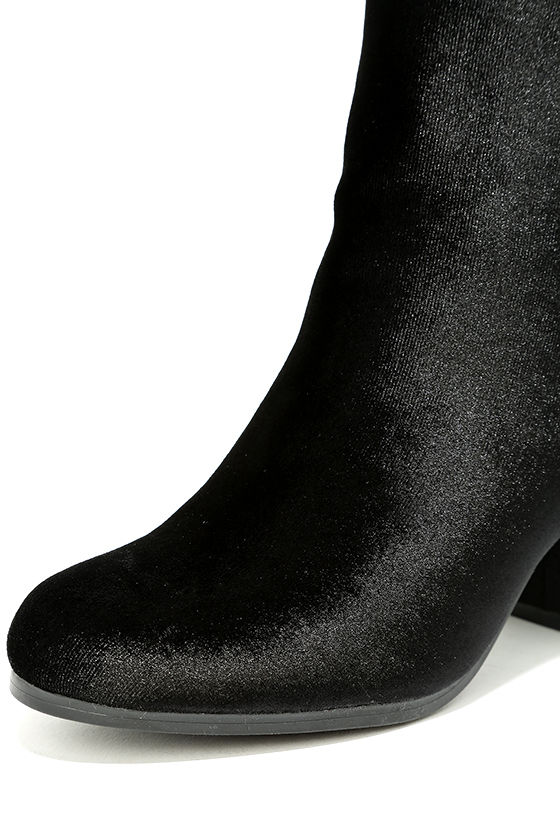 Annette Black Velvet Ankle Booties 6