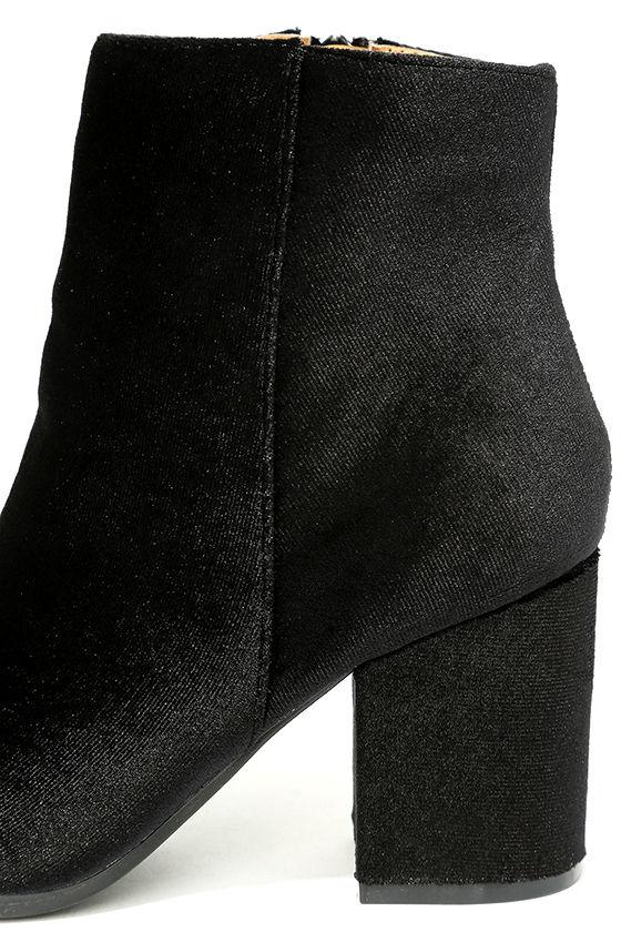 Annette Black Velvet Ankle Booties 7