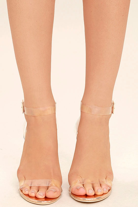 Clear to See Rose Gold Lucite Heels 2