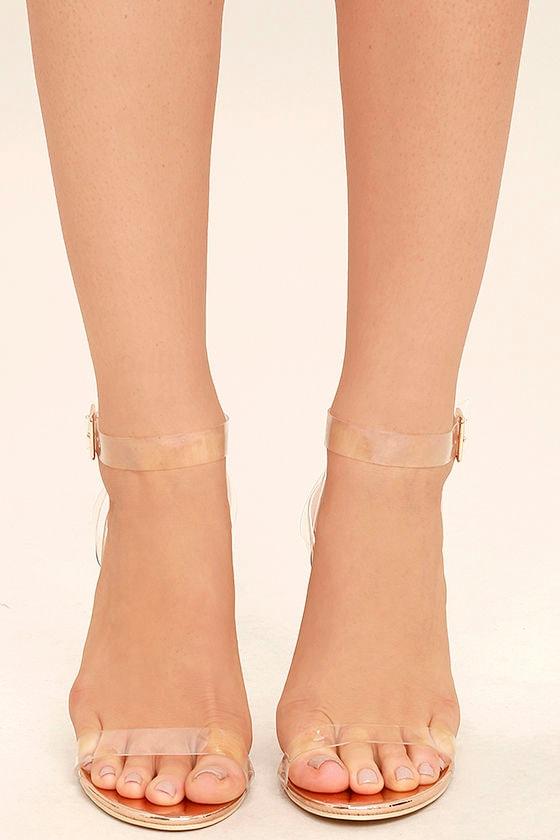 Sexy Clear Heels - Lucite Heels - Block Heels - Rose Gold Heels -  45.00