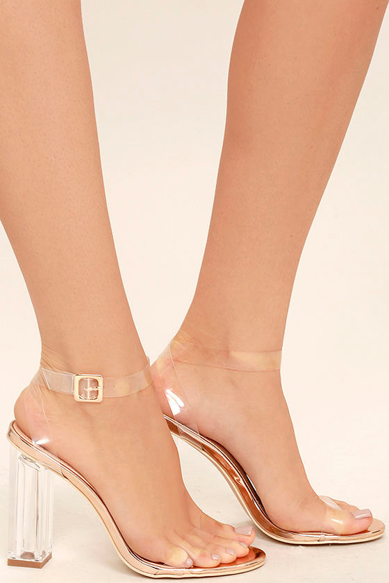 Clear to See Rose Gold Lucite Heels 3