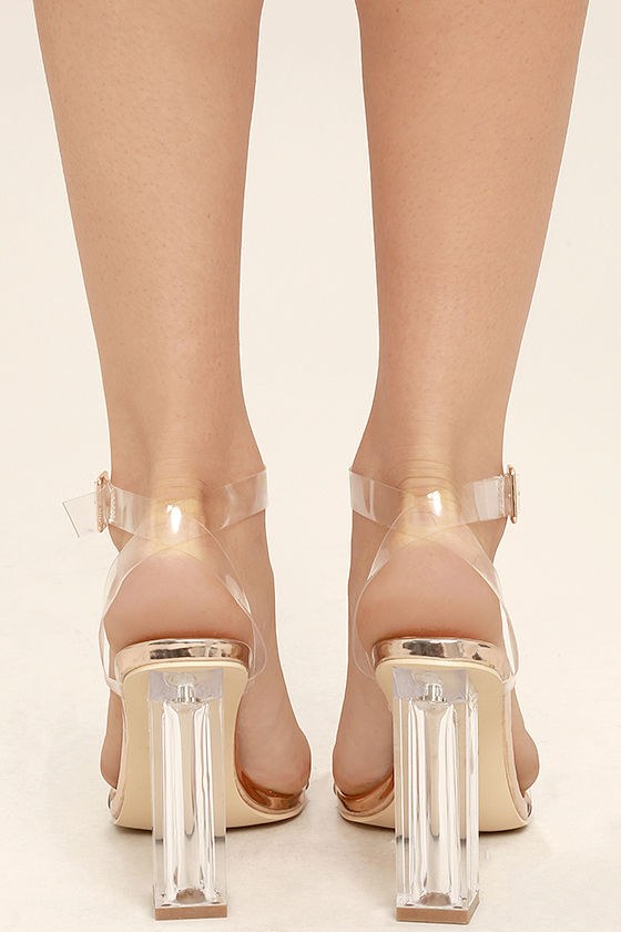 Clear to See Rose Gold Lucite Heels 4
