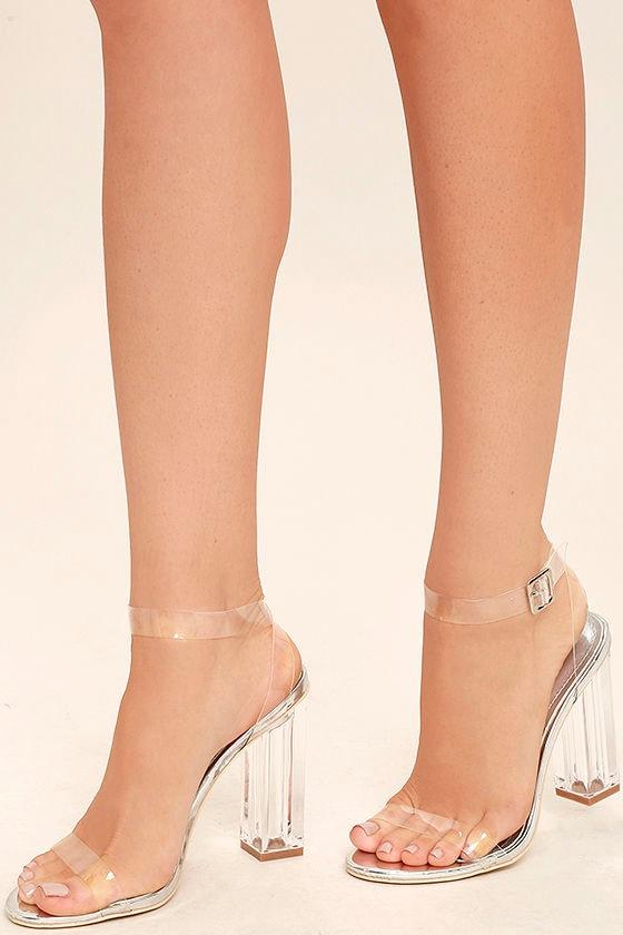 Sexy Clear Heels - Lucite Heels - Block Heels - Silver Heels -  45.00