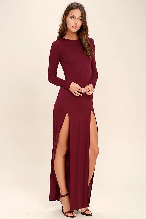 e67137f383176 Lovely Burgundy Dress - Maxi Dress - Long Sleeve Dress -  46.00