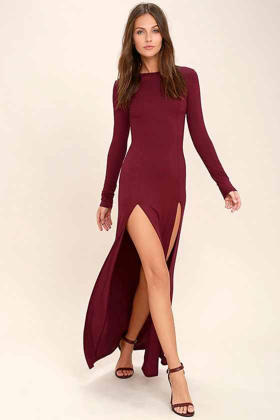 Lovely Burgundy Dress Maxi Dress Long Sleeve Dress 46 00
