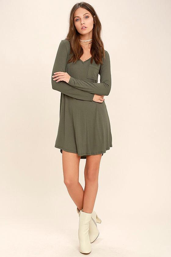 e53a26687455 Cute Olive Green Dress - Swing Dress- Long Sleeve Dress - Shirt ...