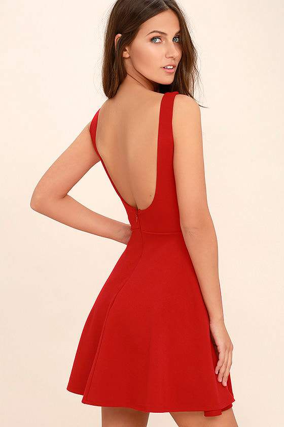 01a293e374f Cute Red Dress - Skater Dress - Backless Dress -  44.00