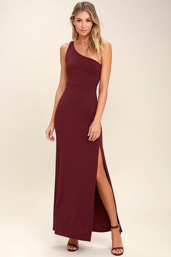 c34d0a40d7d6 Wine Red Dress - Maxi Dress - One Shoulder Dress -  54.00