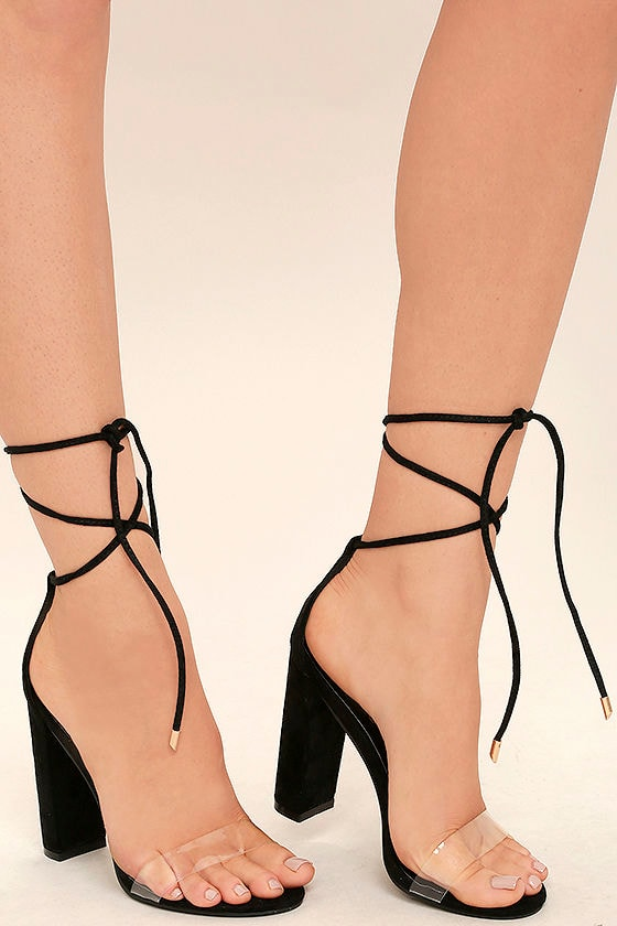 Chic Black Heels - Black and Lucite Heels - Lace-Up Heels - Leg ...
