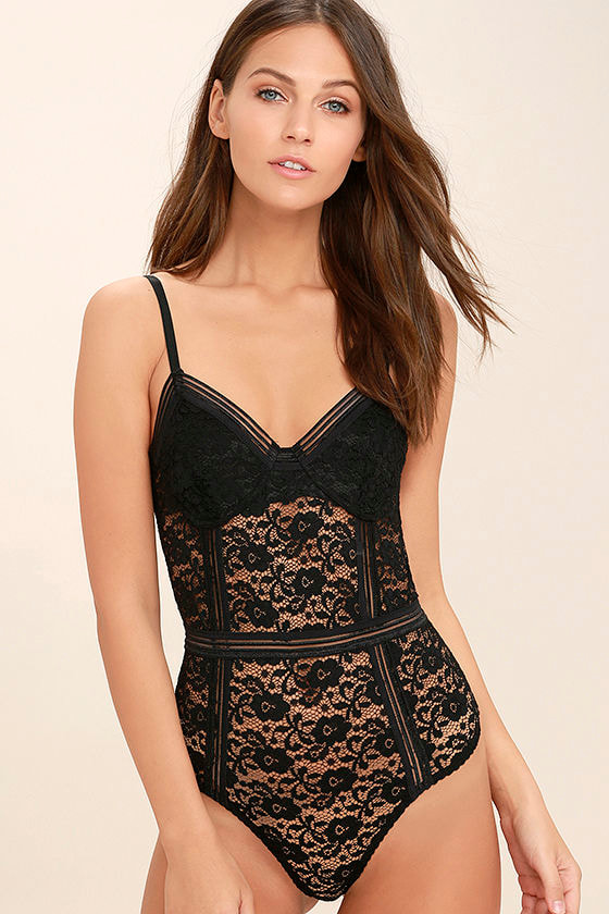 Lady Marmalade Slate Black Lace Bodysuit