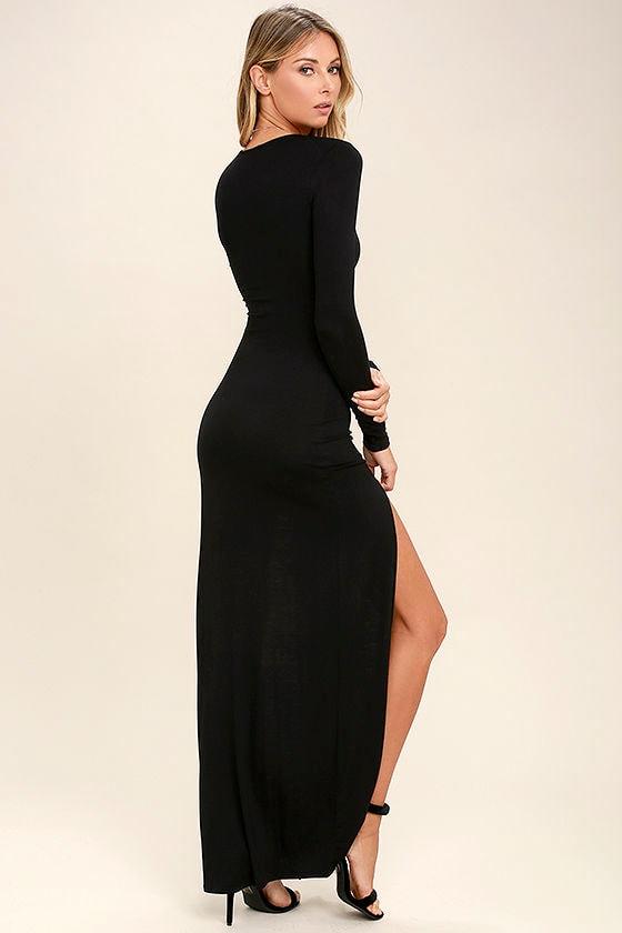 lovely black dress - maxi dress - long sleeve dress - $46.00