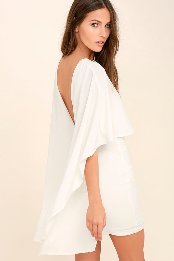 Chic White Dress - Backless Dress - LWD - Cape Dress - $54.00