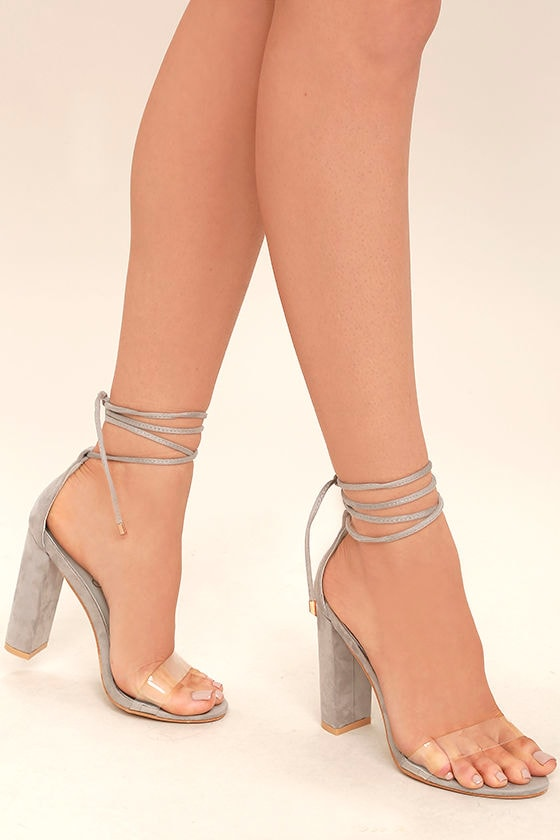 Chic Grey Heels Black And Lucite Heels Lace Up Heels