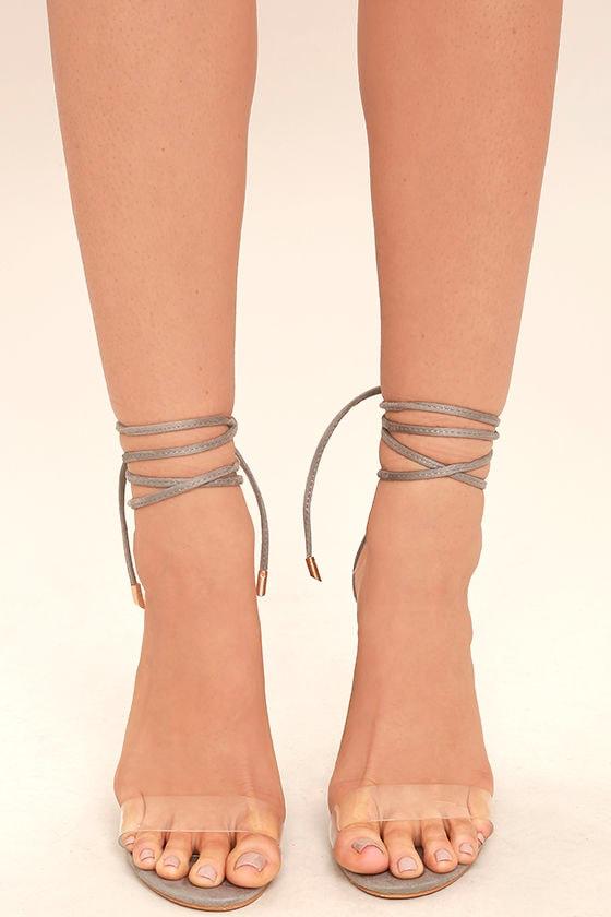 Maricela Grey Suede Lace-Up Heels 2
