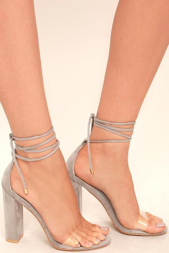 Maricela Grey Suede Lace-Up Heels 3