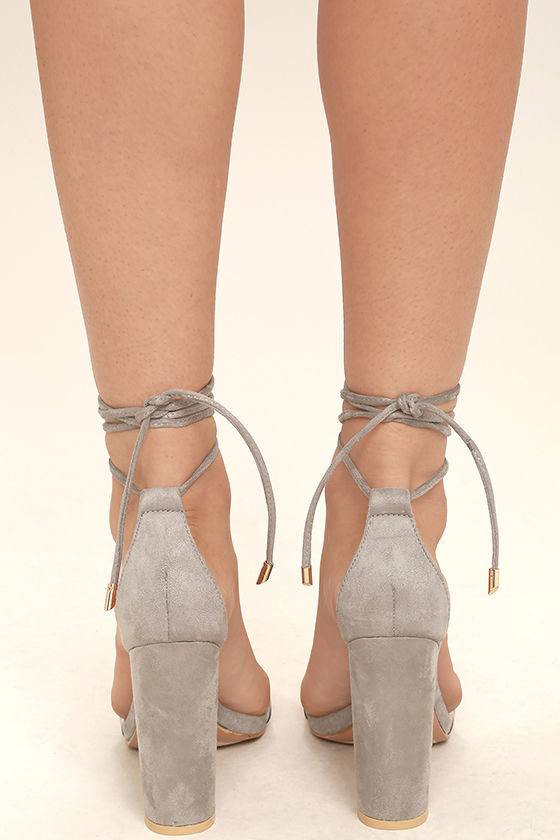 Maricela Grey Suede Lace-Up Heels 4