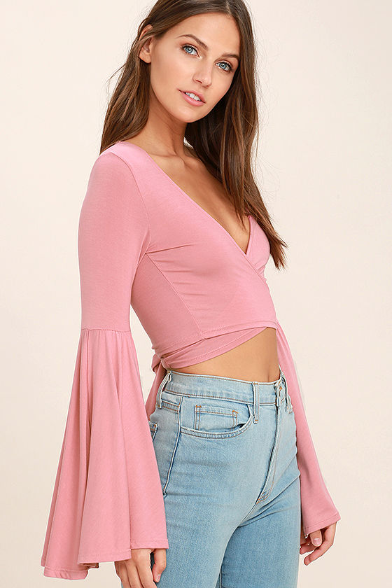 1e163a72a136 Sexy Blush Pink Top - Crop Top - Long Sleeve Top -  29.00