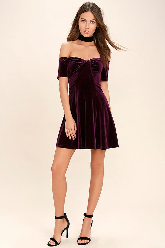 259b9f59d80b Cute Plum Purple Dress - Velvet Dress - Off-The-Shoulder Dress -  46.00