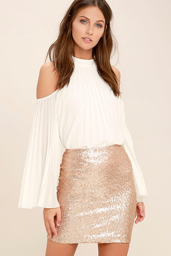 Lovely Rose Gold Skirt - Matte Sequin Skirt - Mini Skirt ...