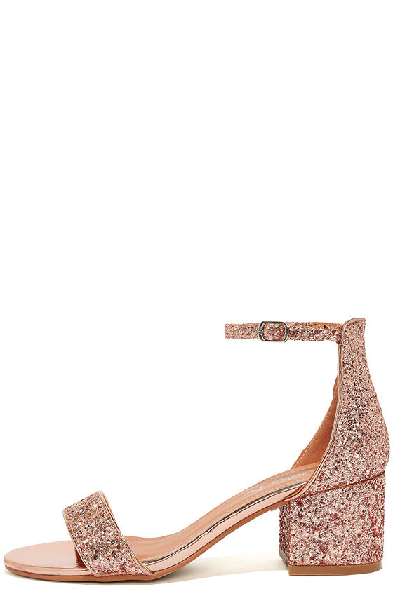 Reunion Pink Glitter Ankle Strap Heels 1