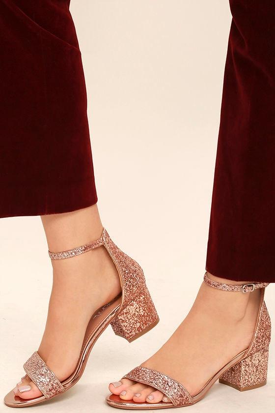 Reunion Pink Glitter Ankle Strap Heels 2
